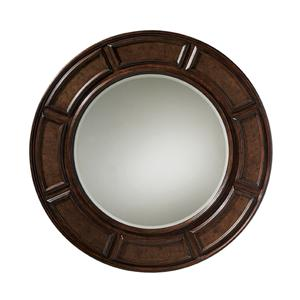 Helena Round Mirror with Hammered Antique Copper Inlay