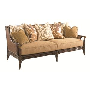 Las Palmas Sofa with Scattered Back Pillows, Rattan Back and Bamboo Detailing