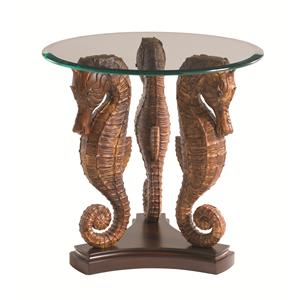 Sea Horse Lamp Table with Glass Top