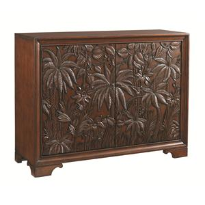 Balboa Tropical Carved Door Chest with 11 Shelves