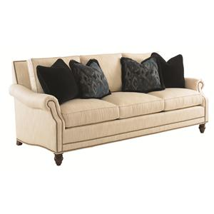 Shoal Creek Sofa with Turned Legs and Nailhead Border
