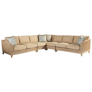 Brisbane Tropical Five Piece Sectional with Woven Banana Leaf