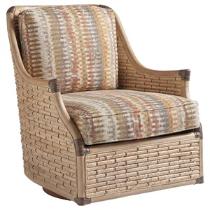 Barlow Woven Banana Leaf Swivel Chair with Down Cushions