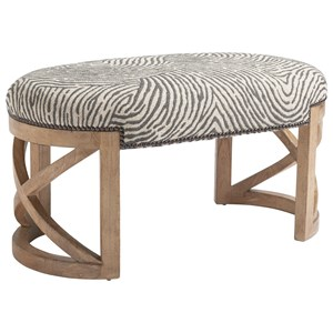 Marcel Oval Accent Bench with X Base and Nailheads