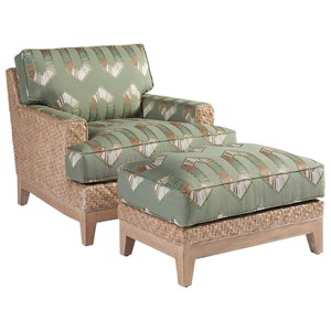 Danville Tropical Chair & Ottoman Set with Woven Banana Leaf Frame