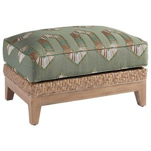 Danville Woven Rattan Ottoman with Wood Base