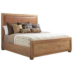 Antilles King Size Bed with Rustic Stitched Leather Headboard and Nailhead Trim