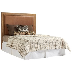 Antilles King Size Headboard with Rustic Stitched Leather Insert and Nailheads