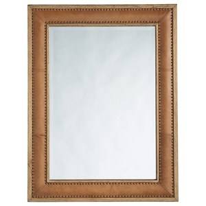Dominica Leather Rectangular Mirror with Nailhead Trim