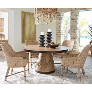 Five Piece Dining Set with Weston Table and Keeling Banana Leaf Chairs