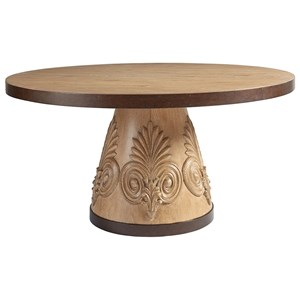 Weston Round Oak Dining Table with Carved Acanthus and Bronze Trim