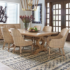 Seven Piece Dining Set with Farmington Table and Keeling Banana Leaf Chairs