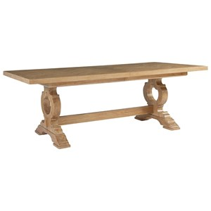 Farmington Rectangular Trestle Dining Table with Two Table Extension Leaves