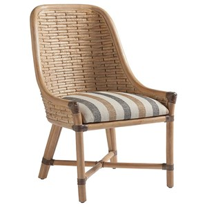 Keeling Woven Banana Leaf Side Chair with Upholstered Cushion in Custom Fabric