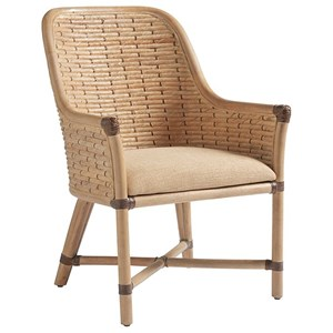 Keeling Woven Banana Leaf Arm Chair with Upholstered Cushion in Ellerston Maize Fabric