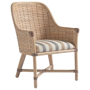 Keeling Woven Banana Leaf Arm Chair with Upholstered Cushion in Custom Fabric
