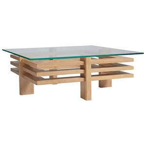 Calcutta Square Contemporary Cocktail Table with Glass Top