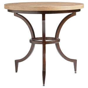 Flemming Round Metal End Table with Wood Top