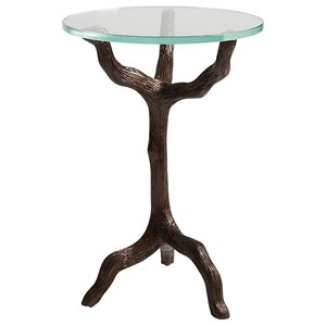 Trieste Contemporary Twig-Shaped Accent Table with Glass Top
