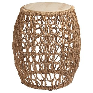 Madrid Woven Banana Leaf Chairside Accent Table with Stone Top