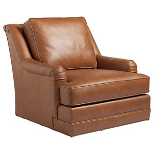 Benton Transitional Wing Back Swivel Chair in Saddle Brown Leather
