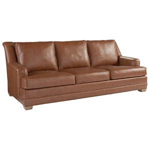 Benton Transitional Wing Back Sofa in Saddle Brown Leather
