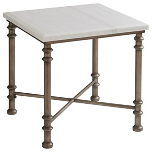 Flagler Square Marble Top End Table