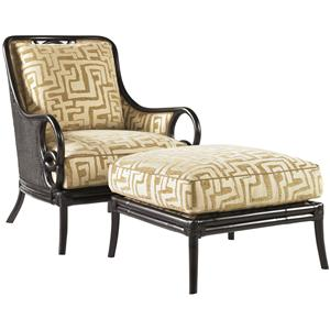 Sumatra Exposed Wood Chair & Ottoman Combination