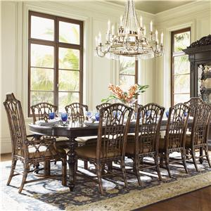 Eleven-Piece Islands Edge Dining Table & Pacific Rim Chairs Set