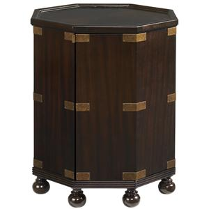 Octagonal Pacific Campaign Accent Table with One Door & One Shelf