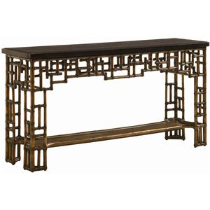 Rattan & Leather Mystic Console with Penn Shell Top