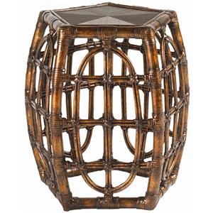 Rattan with Leather Binding Oval Reef Accent Table
