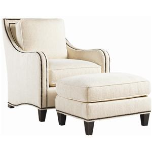 Koko Chair & Ottoman Combination with Decorative Nailhead Trim