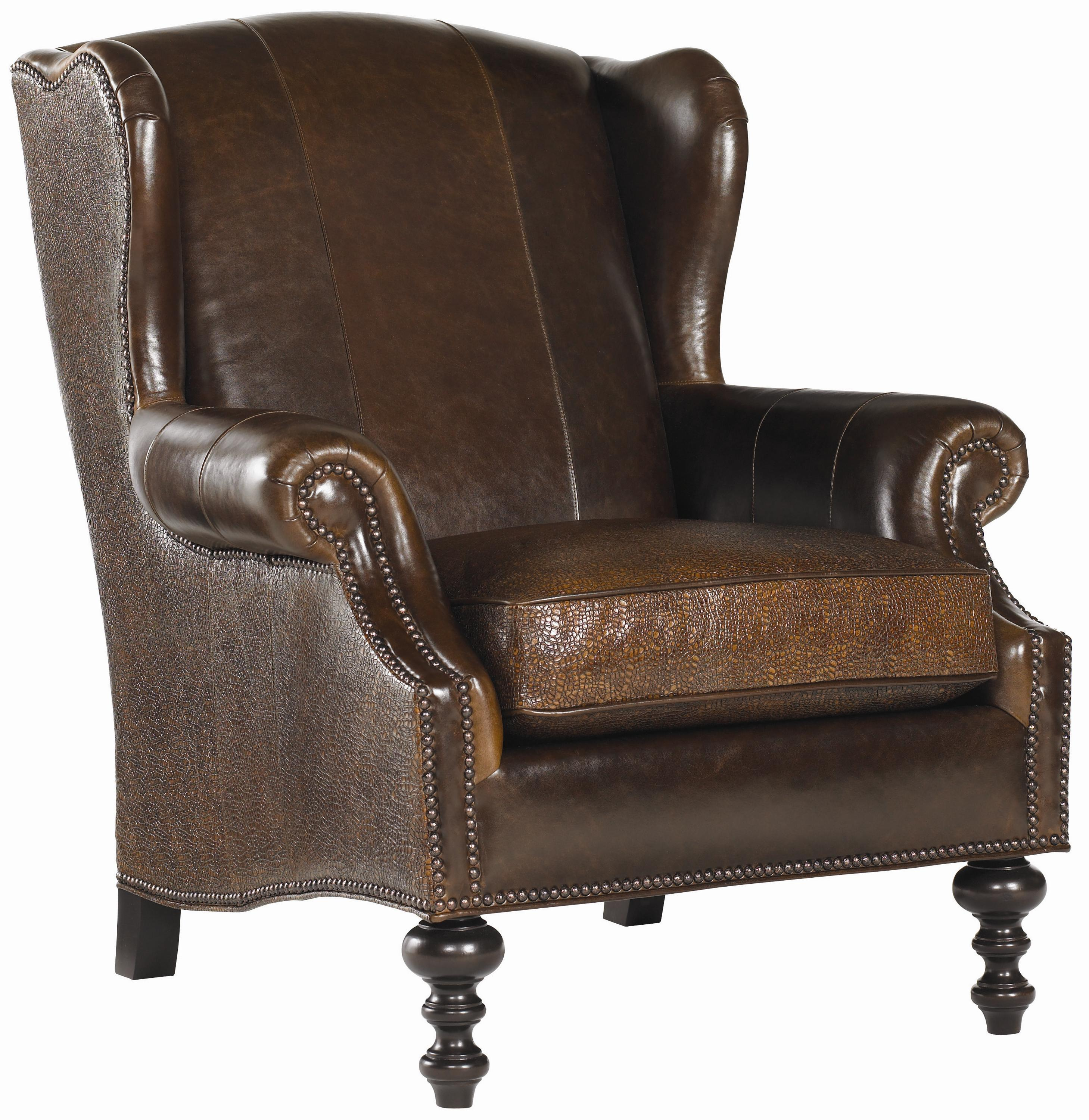 Royal Kahala Batik Leather Wing Chair by Tommy Bahama Home at Baer's Furniture