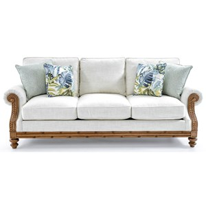 Quick Ship West Shore Sofa with Exposed Wood Accents