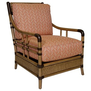 Seagate Chair with Woven and Leather-Wrapped Rattan Frame