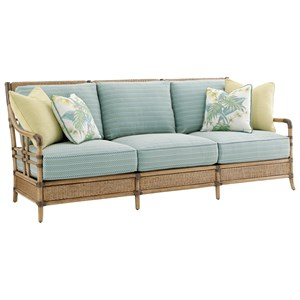Seagate Sofa with Woven and Leather-Wrapped Rattan Frame