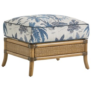 Seagate Ottoman with Rattan and Bamboo Base