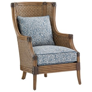 Coral Reef Upholstered Chair with Woven Split Rattan Frame