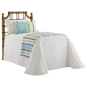 St. Kitts Twin Sized Headboard with Leather-Wrapped Rattan and Burnished Finials