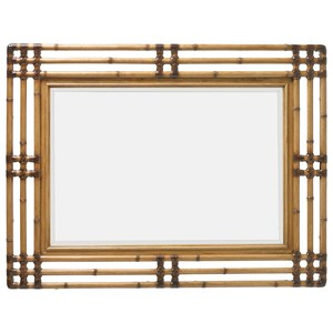 Savana Bamboo Carved Mirror with Leather Wrap Detail