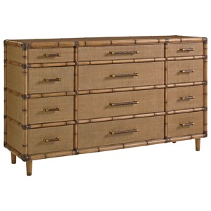 Windward Twelve Drawer Dresser with Raffia Detail