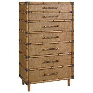 Bridgetown Chest with Raffia Drawer Fronts and Leather-Wrapped Bamboo Trim