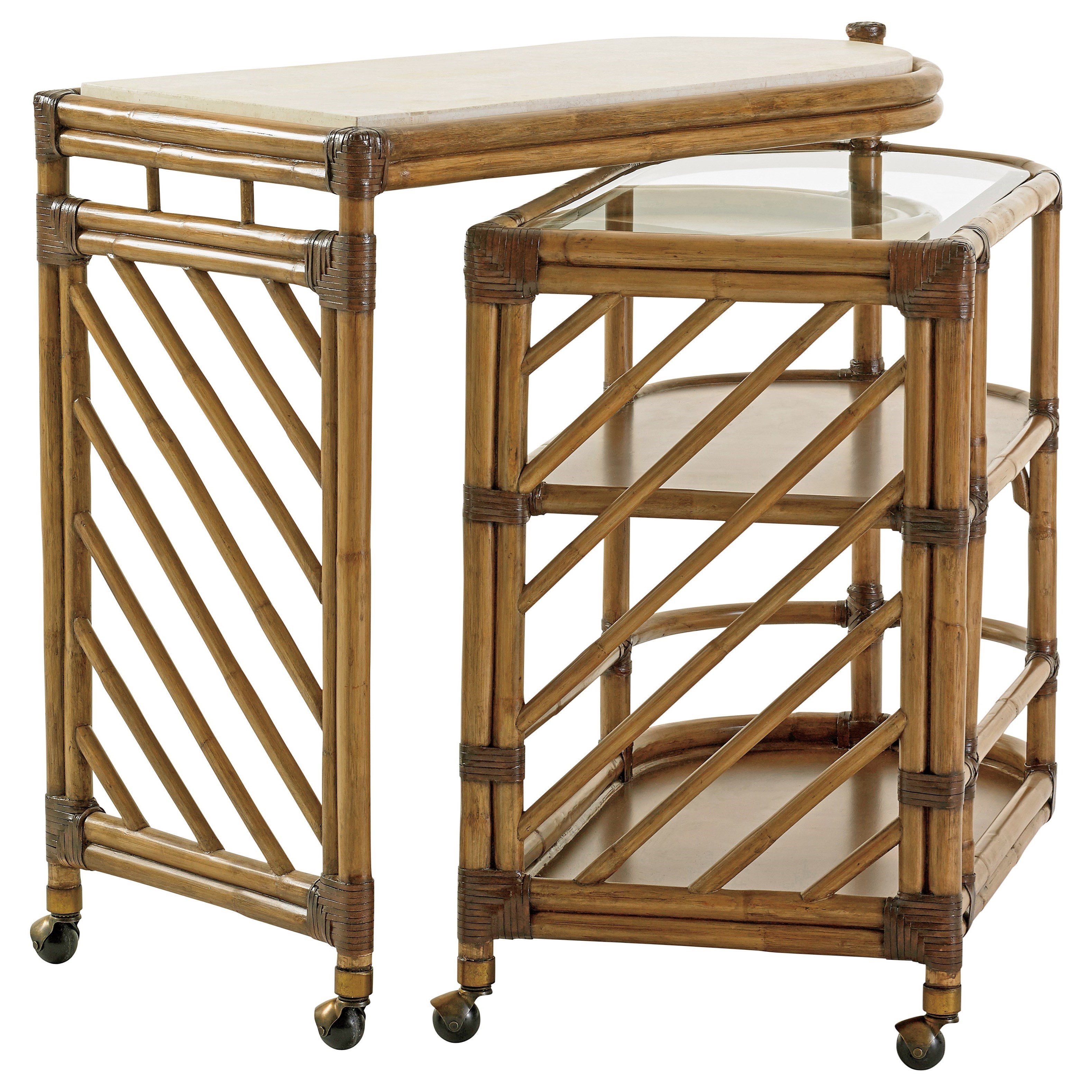 Twin Palms Cable Beach Bar Cart by Tommy Bahama Home at Baer's Furniture