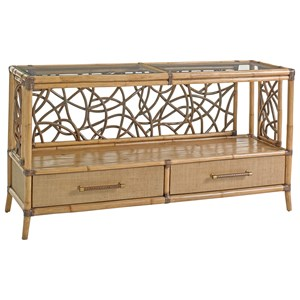 Sonesta Serving and Console Table with Twisted Rattan Lattice