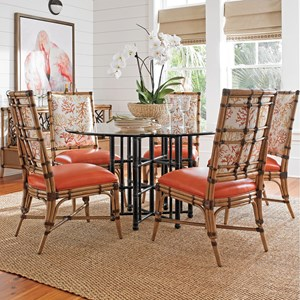 "Six Piece Dining Set with Stellaris 54"" Table and Customizable Summer Isle Chairs"
