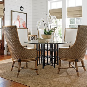 "Six Piece Dining Set with Stellaris 60"" Table and Balfour Host Chairs in Sand Dollar Fabric"