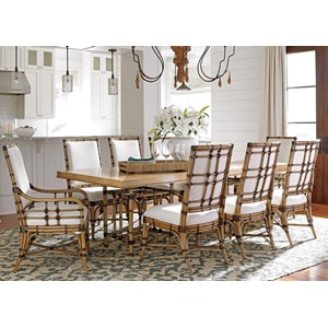 Nine Piece Dining Set with Caneel Table and Summer Isle Chairs in Sand Dollar Fabric