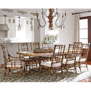 Nine Piece Dining Set with Caneel Table and Seaview Chairs in Sand Dollar Fabric