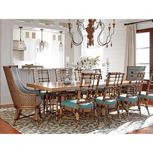 Eleven Piece Dining Set with Caneel Table and Seaview Chairs in Customizable Upholstery